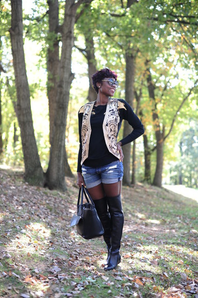 leather bag blogger jacket sunglasses skinny hipster jumper cardigan ripped shorts thigh high boots