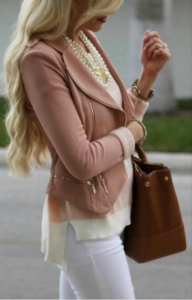 jacket pink jacket coat blouse pink elegant gold blazer pink leather cute blush tight formal casual