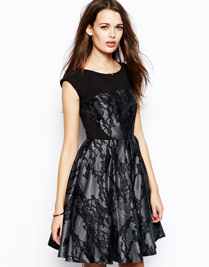 French Connection Milly Prom Dress with Lace Print at asos.com