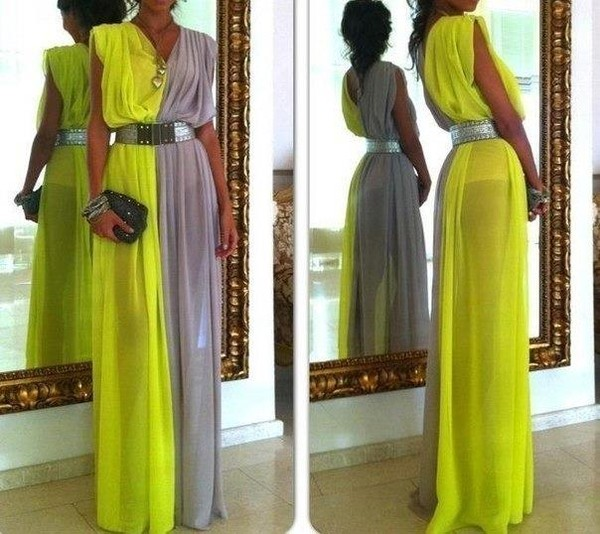 dress maxi dress neon bag belt 2 side dress neon dress grey grey maxi amazing yellow & gray maxi dress multi-colored maxi dress yellow and grey chiffon dress long and blocked colour green libg elegant beautiful