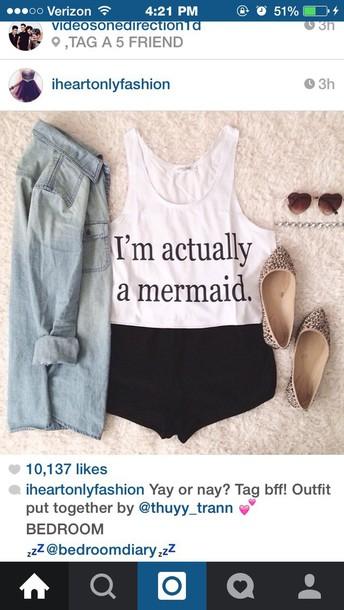 shoes cute shoes shirt white mermaid