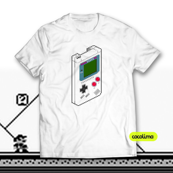 t-shirt clothes gamer gaming game gamers pixel retro vintage t-shirt guys videojuegos friki generation buttons fan play cocolima game boy video games portable illustration printed t-shirt printed t-shirt colorful color/pattern game boy color console