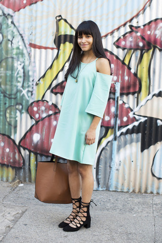 city laundry blogger dress bag jewels shoes blue dress off the shoulder teal mini dress lace up black flats