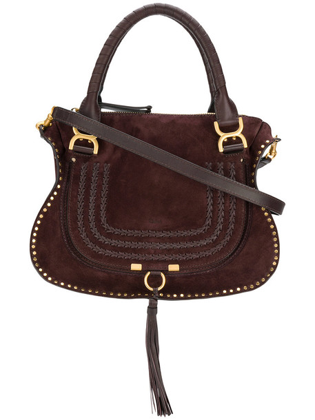 Chloe women bag tote bag leather cotton suede brown