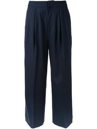 pants cropped pants cropped women blue wool