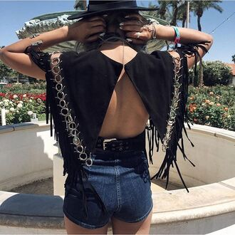 blouse suede silver ring cropped fringes festival blogger open back black top denim shorts black hat