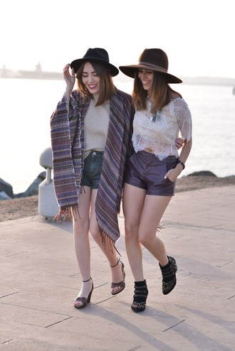 platforms for breakfast blogger hat bff leather shorts crochet top