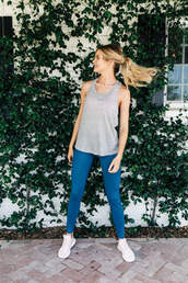 leggings,tumblr,sportswear,sports pants,sneakers,white sneakers,top,tank top,grey tank top,athletic,gym clothes,activewear