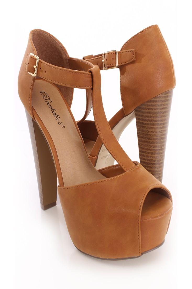 Tan Peep Toe Ankle Strap Platform Heels Faux Leather
