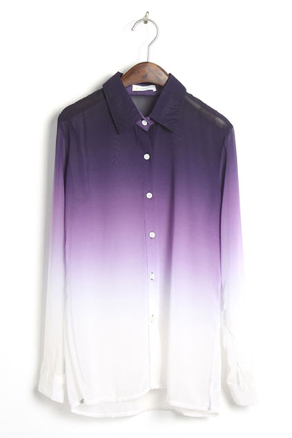 Purple Gradient Long Sleeve Chiffon Blouse - OASAP.com