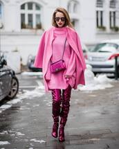 shoes,tumblr,boots,pink boots,over the knee boots,over the knee,dress,mini dress,pink dress,sweater dress,knit,knitwear,knitted dress,coat,pink coat,sunglasses,all pink everything,monochrome outfit