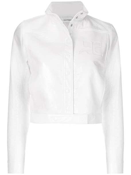 Courrèges - cropped bomber jacket - women - Cotton/Polyurethane/Acetate/Cupro - 42, White, Cotton/Polyurethane/Acetate/Cupro