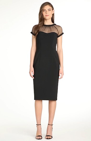 d988ca8b80e Maggy London Illusion Yoke Crepe Sheath Dress (Regular   Petite ...
