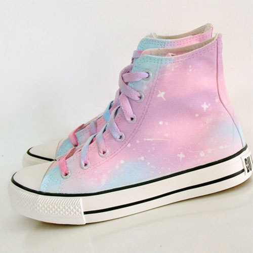 shopbazar shopping mall — [grzxy61900397]Candy Color Hand Painting High Top Canvas Sneaker