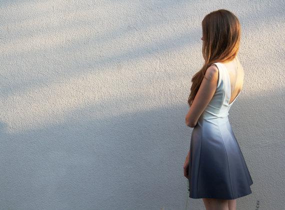 Ombre Mini Open Back Silk Satin Dress от NelliUzun на Etsy