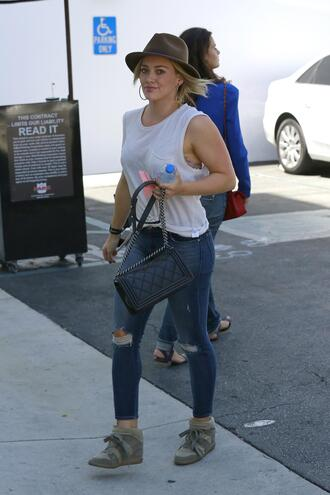 jeans hilary duff shoes sneakers hat