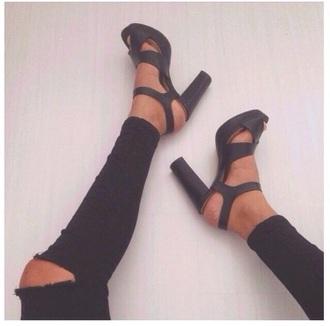 shoes black high heels heels straps black heels