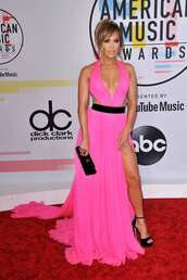 dress,American Music Awards,jennifer lopez,gown,prom dress,pink dress,pink,sandals,red carpet dress,celebrity style,plunge dress,clutch