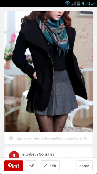 tights flannel scarf pleated skirt grey skirt