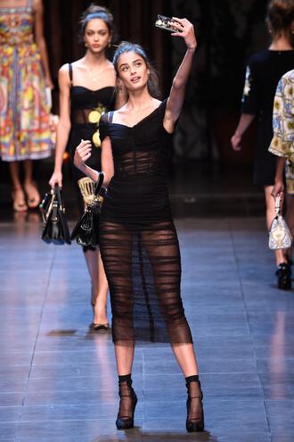 dress fashion week prom dress runway model see through dress selfie dolce and gabbana
