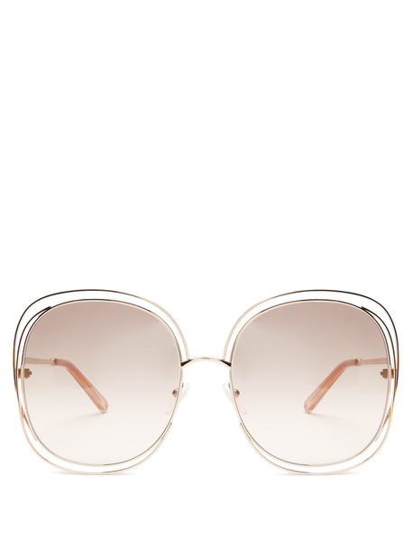 dc8e3f1bde Chloe CHLOÉ Modified oversized square-frame sunglasses in gold   multi