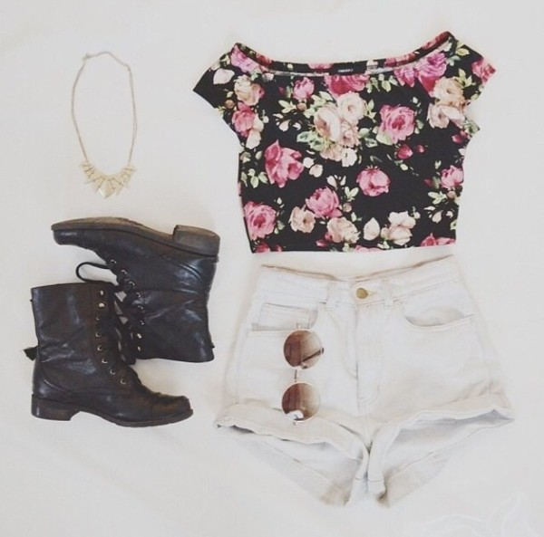 blouse shorts shirt jewels summer shoes combat boots boots black boots hipster grunge