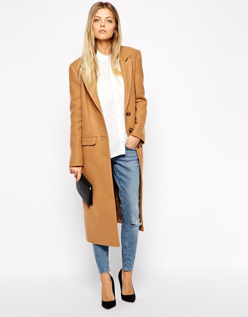 ASOS Midi Coat in Wool at asos.com