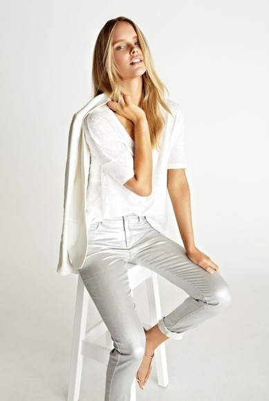 white pants pants jeans white jeans cropped jeans cropped ankle grazer