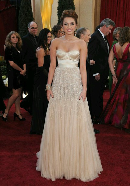miley cyrus nude tulle dress sparkle dress