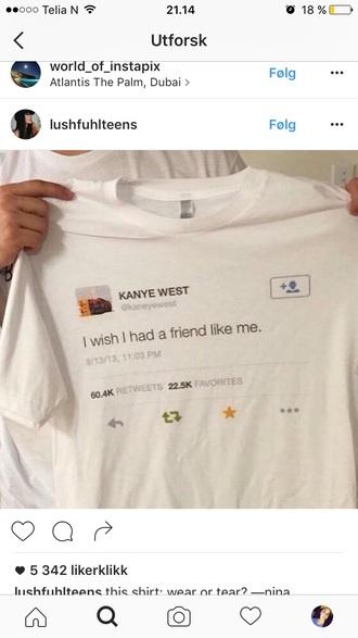 t-shirt kanye west twitter white print