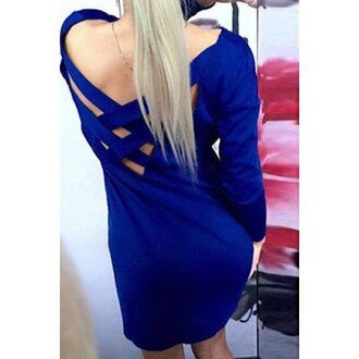 dress winter outfits winter sweater blue backless off the shoulder casual casual dress cute