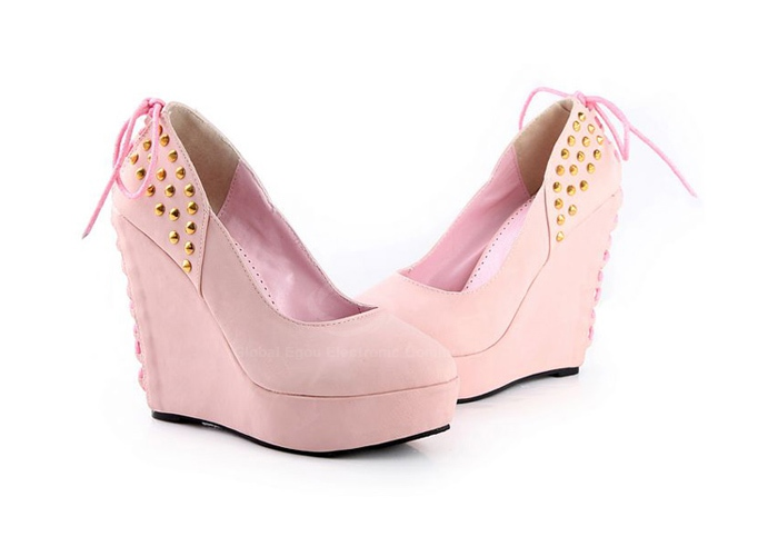 Pink Suede Leather Women's Wedge Shoes With Rivets and Lace-Up Design | Amazing Shoes Uk