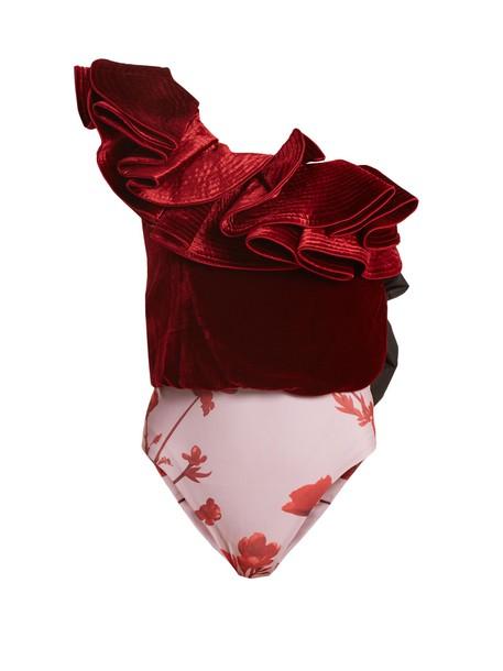 Johanna Ortiz bodysuit velvet burgundy underwear