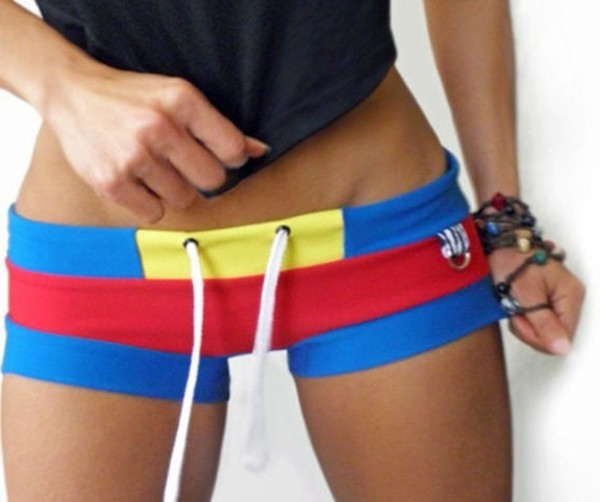 shorts red yellow shorts blue fitness