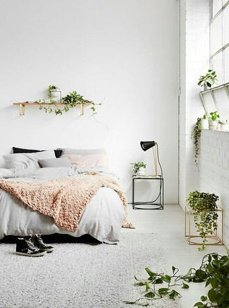 home accessory home decor bedroom white pink grey plants greenery black gold copper wood cute pretty aesthetic beautiful room bedsheets bedding night stand side table