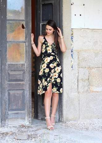 peexo blogger dress shoes floral dress nude heels mini dress sandals sandal heels midi dress wrap dress high heel sandals summer dress summer outfits midi wrap dress floral wrap dress