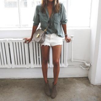 shorts short white blouse