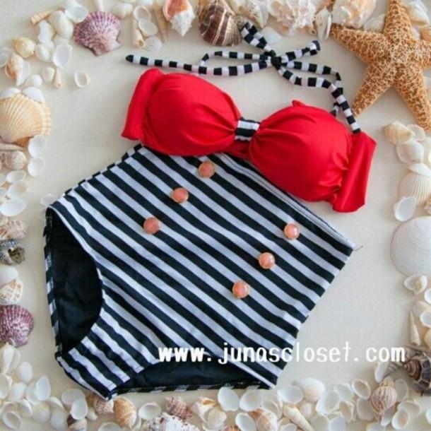swimwear sea bikini high waisted bikini high waisted pants cardigan stripes polka dots navy
