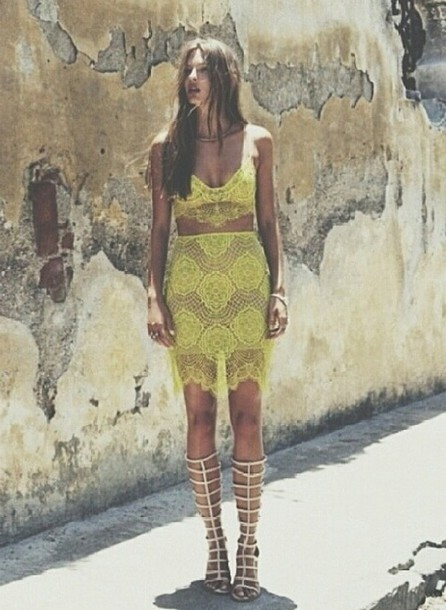 skirt two-piece lace green