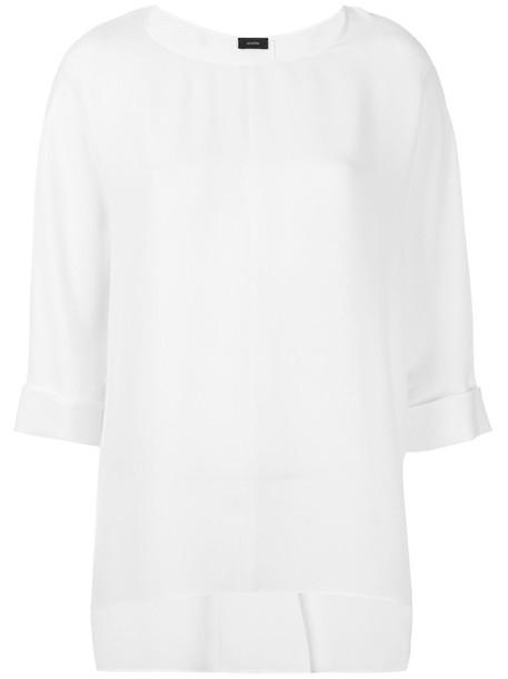 Joseph - cropped sleeve top - women - Silk - 42, White, Silk