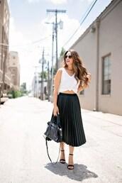 skirt,midi skirt,faux leather skirt,pleated skirt,sandals,tank top,handbag,blogger,blogger style