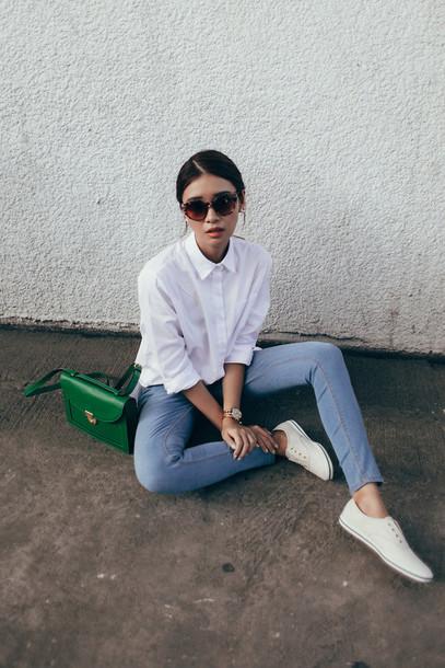 9e8b3c30014d white sneakers tumblr nq7s5w l 610x610 blouse shirt white sheer jeans purse  green lovely shoes ...