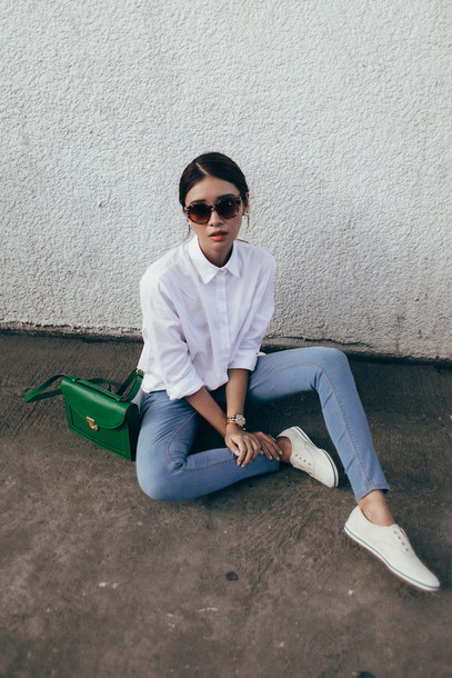 Blouse Shirt White Sheer Jeans Purse Green Lovely Shoes Sneakers Tumbrl Outfits ...