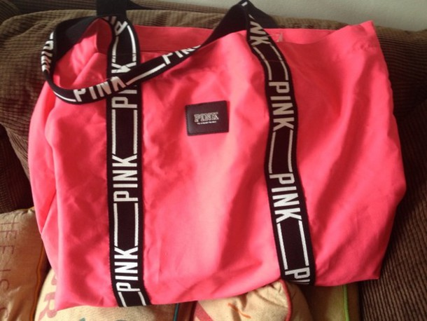 bag pink victoria's secret black white tote bag