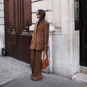 blazer brown blazer pants brown pants handbag orange handbag jacket bag