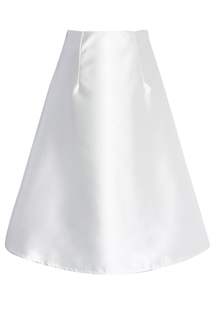 Textured A-line Skirt in White - Retro, Indie and Unique Fashion