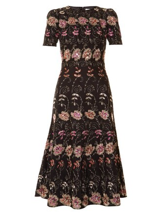 dress midi dress short embroidered midi floral black