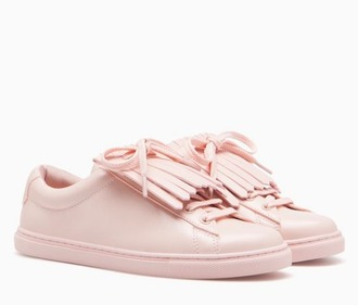 shoes pink sneakers pastel pink fringe shoes back to school