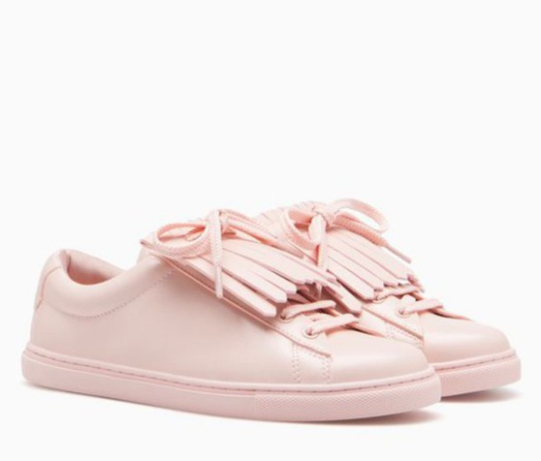 f62d821e90e8 shoes pink sneakers pastel pink fringe shoes back to school