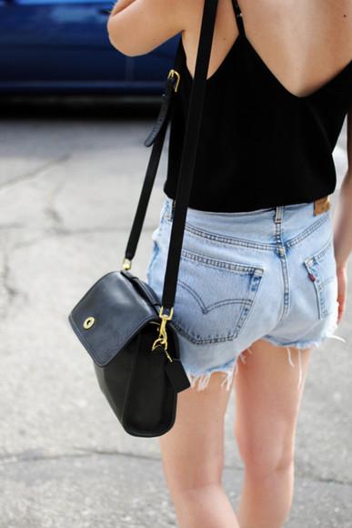 denim ripped shorts top black shoulder bag black singlet black tanktop v back top